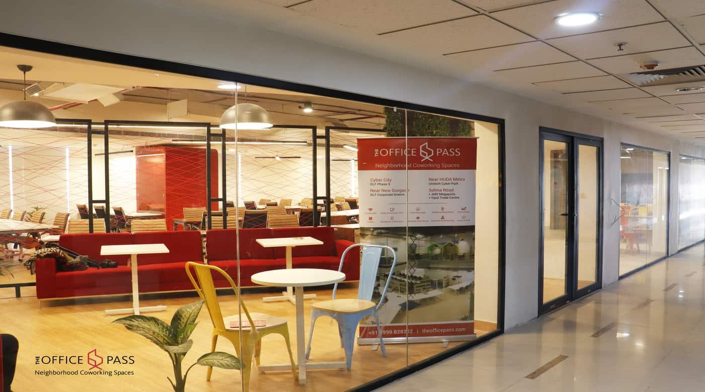 Reception area @ Coworking Office, Vipul Trade Centre, Sohna Road - The Office Pass (TOP)